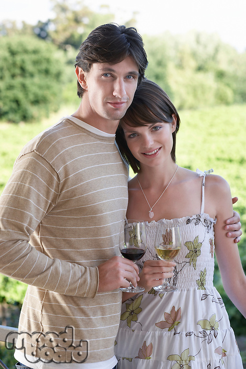 Couple Enjoying an Afternoon at a Winery