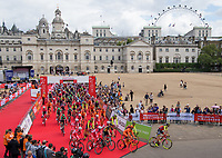 A view of the riders as they cross the start-line for the Prudential RideLondon-Surrey Classic at Horse Guards Parade 30/07/2017<br /> <br /> Photo: Bob Martin/Silverhub for Prudential RideLondon<br /> <br /> Prudential RideLondon is the world's greatest festival of cycling, involving 100,000+ cyclists – from Olympic champions to a free family fun ride - riding in events over closed roads in London and Surrey over the weekend of 28th to 30th July 2017. <br /> <br /> See www.PrudentialRideLondon.co.uk for more.<br /> <br /> For further information: media@londonmarathonevents.co.uk