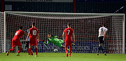 STEVENAGE, ENGLAND - Monday, September 19, 2016: Liverpool's goalkeeper Kamil Grabara is unable to prevent Tottenham Hotspur's Ryan Loft scoring an injury time consolation goal, as the Reds win 6-2, during the FA Premier League 2 Under-23 match at Broadhall. (Pic by David Rawcliffe/Propaganda)