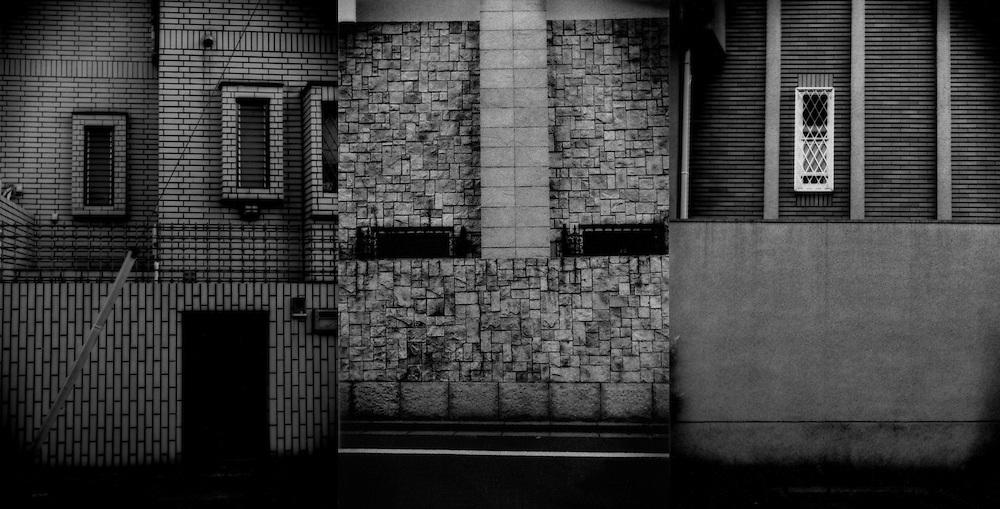 Privacy, Isolation / Triptych: Forbidding suburban facades, Seijo, Tokyo, Japan.