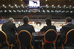 Jury dressuur: Versteeg Wim, Dorresteijn Marian, Ernes Wim, Van Woudenbergh Reijer<br /> KWPN Stallion Selection - 's Hertogenbosch 2014<br /> © Dirk Caremans