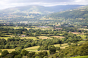 Usk valley landscape looking north west  from B4246 road, near Abergavenny, Monmouthshire, Wales, UK