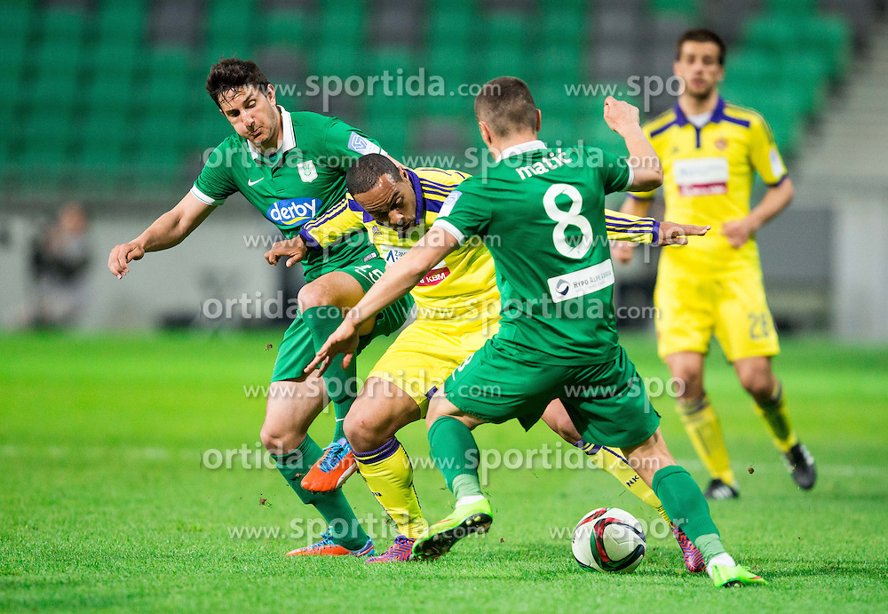 Marcos Tavares #9 of Maribor vs Marko Vukcevic #15 of Olimpija and Darijan Matic #8 of Olimpija during football match between NK Olimpija Ljubljana and NK Maribor in Round #26 of Prva liga Telekom Slovenije 2014/15, on April 8, 2015 in SRC Stozice, Ljubljana, Slovenia. Photo by Vid Ponikvar / Sportida