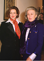 Left to right, PRINCESS KATYA GALITZINE and her mother PRINCESS GEORGE GALITZINE,  at an exhibition in London on 15th December 1998.  MMZ 31