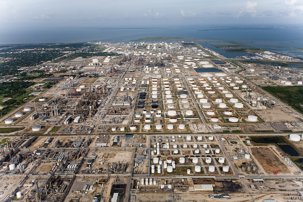 Southeast Texas is a central hub for receiving and processing imported oil along the Gulf Coast and is home to many of the country's largest refineries.  PB's Texas City refinery (one of several seen here) occupies 1,200 acres and is capable of refining 10 million gallons of gasoline each day.  It produces 2.5 percent of all gasoline sold in the United States.