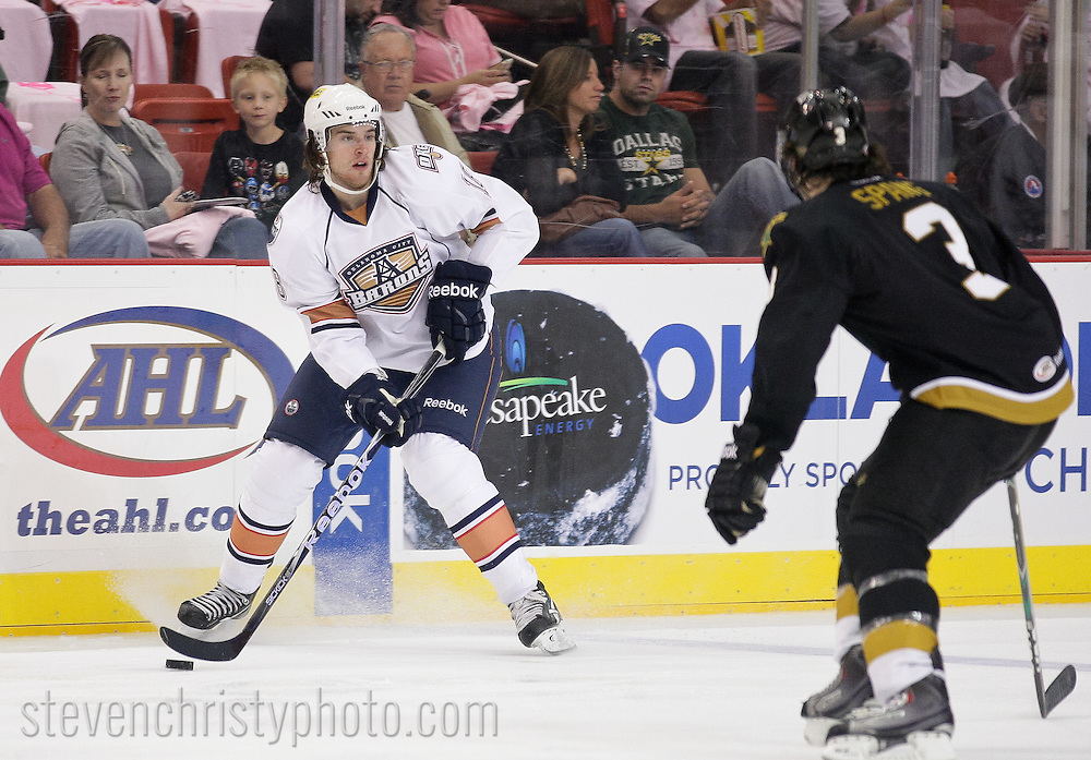 October 15, 2011: The Oklahoma City Barons play the Texas Stars in an American Hockey League game at the Cox Convention Center in Oklahoma City.