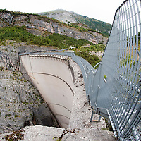 LONGARONE, ITALY - SEPTEMBER 28:  A fish eye view of the Vajont dam seen on September 28, 2013 in Longarone, Italy. The Vajont Dam tragedy happened on the night of the October 9, 1963, when a landslide broke away from Monte Toc and fell into the Vajont River, causing a wave that struck the neighboring towns and killing more than 2000 people.  (Photo by Marco Secchi/Getty Images)