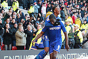 Clayton Donaldson celebrates with Demarai Gray during the Sky Bet Championship match between Nottingham Forest and Birmingham City at the City Ground, Nottingham, England on 28 December 2014. Photo by Jodie Minter.
