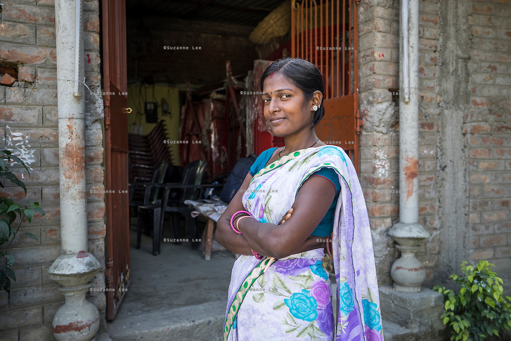Chanda Devi, 30, the Director of a Producer Company with over 1900 members, poses for a portrait outside the company building in Muzaffarpur, Bihar, India on October 27th, 2016. Non-profit organisation Technoserve works with women vegetable farmers in Muzaffarpur, providing technical support in forward linkage, streamlining their business models and linking them directly to an international market through Electronic Trading Platforms. Photograph by Suzanne Lee for Technoserve