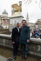 © Licensed to London News Pictures. 28/03/2018. London, UK. London mayor Sadi Khan and artist Michael Rakowitz unveils his forth plinth work titled The Invisible Enemy Should Not Exist in Trafalgar Square. Photo credit: Ray Tang/LNP