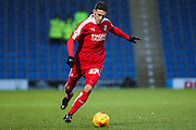 Swindon Town defender Brad Barry strikes the ball during the Sky Bet League 1 match between Chesterfield and Swindon Town at the Proact stadium, Chesterfield, England on 28 November 2015. Photo by Aaron Lupton.