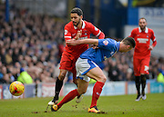 Leyton Orient Midfielder Jobi McAnuff takes on Portsmouth defender Enda Stevens during the Sky Bet League 2 match between Portsmouth and Leyton Orient at Fratton Park, Portsmouth, England on 6 February 2016. Photo by Adam Rivers.