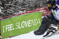 I feel SLOVENIA banner at Slalom race at 2019 World Para Alpine Skiing Championship, on January 23, 2019 in Kranjska Gora Slovenia. Photo by Matic Ritonja / Sportida