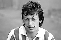 Eddie McGinley, footballer, Derry City FC, N Ireland, 19850808EMG.<br /> <br /> Copyright Image from Victor Patterson, 54 Dorchester Park, Belfast, UK, BT9 6RJ<br /> <br /> t1: +44 28 9066 1296 (from Rep of Ireland 048 9066 1296)<br /> t2: +44 28 9002 2446 (from Rep of Ireland 048 9002 2446)<br /> m: +44 7802 353836<br /> <br /> victorpatterson@me.com<br /> www.victorpatterson.com<br /> <br /> Please see my Terms and Conditions of Use at victorpatterson.com . It is IMPORTANT that you familiarise yourself with them.<br /> <br /> Images used on the Internet incur an additional cost and must be visibly watermarked i.e. ©Victor Patterson within the body of the image and copyright metadata must not be deleted. Images used on the Internet have a size restriction of 4kbs and are chargeable at rates available at victorpatterson.com.<br /> <br /> This image is only available for the use of the download recipient i.e. television station, newspaper, magazine, book publisher, etc, and must not be passed on to any third party. It is also downloaded on condition that each and every usage is notified within 7 days to victorpatterson@me.com<br /> <br /> The right of Victor Patterson to be identified as the author is asserted in accordance with The Copyright Designs And Patents Act (1988). All moral rights are asserted.