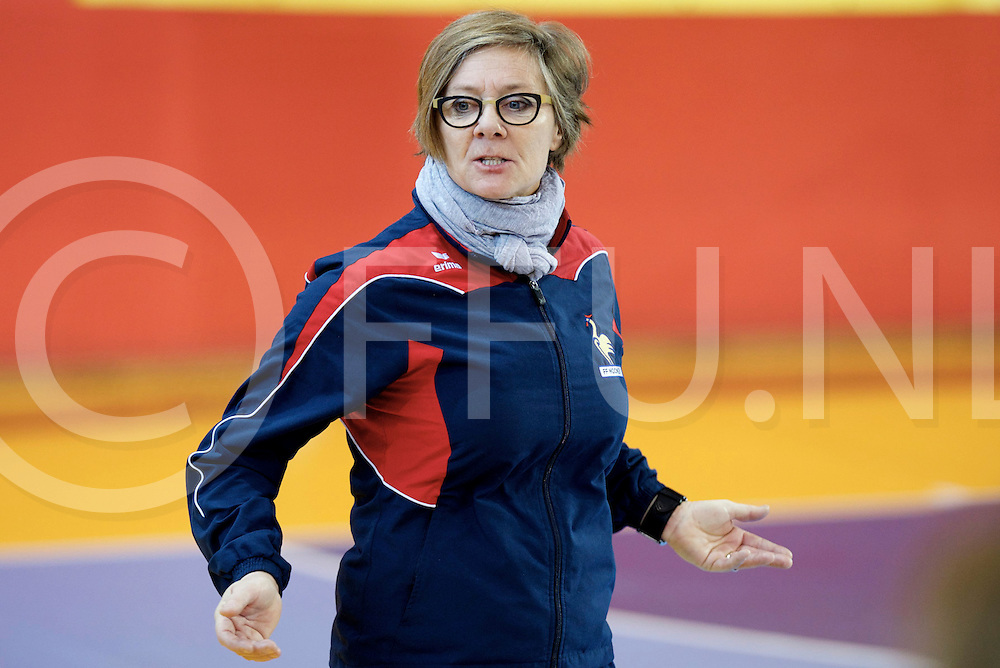 Prague - EuroHockey Indoor Championship (W) 2014<br /> 09 BLR v FRA (Pool B)<br /> foto: France coach LLOBET.<br /> FFU PRESS AGENCY COPYRIGHT FRANK UIJLENBROEK