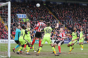 Lincoln City forward Matt Green (10) heads the ball and goes close during the EFL Sky Bet League 2 match between Lincoln City and Exeter City at Sincil Bank, Lincoln, United Kingdom on 30 March 2018. Picture by Mick Atkins.