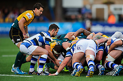 Bath Scrum-Half Micky Young in action - mandatory by-line: Rogan Thomson/JMP - Tel: 07966 386802 - 23/05/2014 - SPORT - RUGBY UNION - Cardiff Arms Park, Wales - Bath Rugby v Northampton Saints - Amlin Challenge Cup Final.
