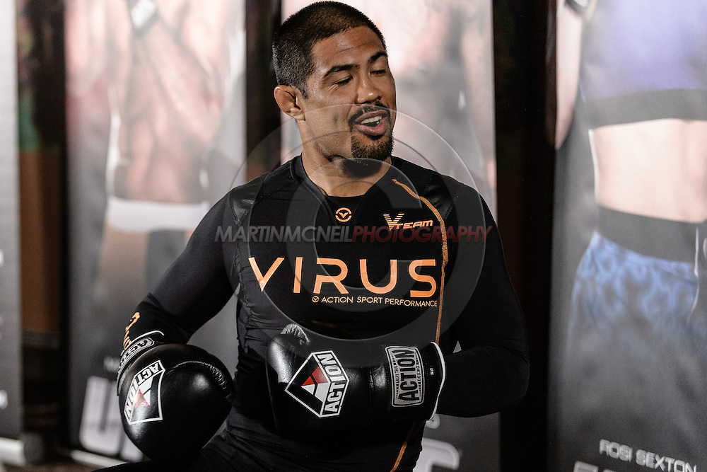 "MANCHESTER, ENGLAND, NOVEMBER 23, 2013: Mark Munoz is pictured at the media open work-out sessions for ""UFC Fight Night 30: Machida vs. Munoz"" inside Bierkeller Shooter's Sports Bar in The Printworks, Manchester (Martin McNeil for ESPN)"