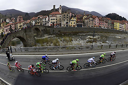 March 18, 2017 - San Remo, Italie - SANREMO, ITALY - MARCH 18 : Illustration picture of the escape pack passing Campo Ligure during the UCI WorldTour 108th Milan - Sanremo cycling race with start in Milan and finish at the Via Roma in Sanremo on March 18, 2017 in Sanremo, Italy, 18/03/2017  (Credit Image: © Panoramic via ZUMA Press)