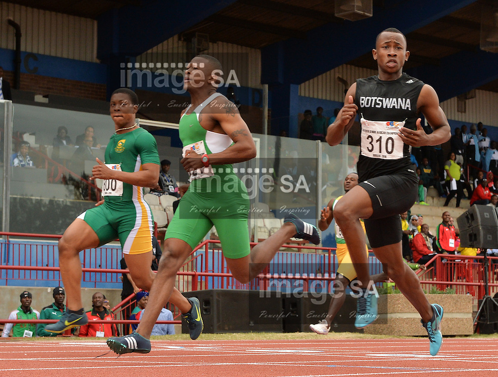 DURBAN, SOUTH AFRICA - JUNE 22: Karabo Mothibi of Botswana in the heats of the mens 100m during the morning session on day 1 of the CAA 20th African Senior Championships at Kings Park Athletic stadium on June 22, 2016 in Durban, South Africa. (Photo by Roger Sedres/Gallo Images)