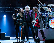 L to R: DON DAVISON, JOHN LODGE, and BILLY SHERWOOD at Five Point Theater in Irvine, California