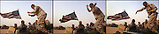 U.S. Army 3rd Division 11th Engineers Specialist Ryan Malcolm (R) from Menomonee Falls, WI, dances on top of his 113 vehicle at a forward battle position near the Iraqi border in the Kuwaiti desert on the eve of the war 19 March, 2003.