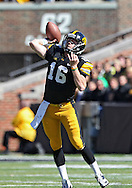September 22 2012: Iowa Hawkeyes quarterback James Vandenberg (16) throws a pass during the first half of the NCAA football game between the Central Michigan Chippewas and the Iowa Hawkeyes at Kinnick Stadium in Iowa City, Iowa on Saturday September 22, 2012. Central Michigan defeated Iowa 32-31.