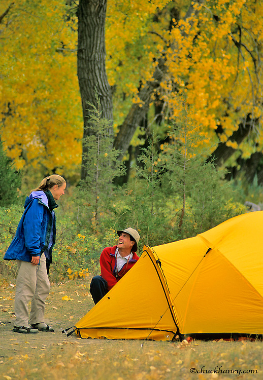 Campsite along the Missouri River in Montana in autumn model released