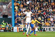 Jamille Matt (11) heads the ball during the EFL Sky Bet League 2 second leg Play Off match between Mansfield Town and Newport County at the One Call Stadium, Mansfield, England on 12 May 2019.