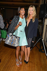 Left to right, TOLULA ADEYEMI and LAURA WHITMORE at the Gyunel Spring Summer 2015 fashion show as part of London Fashion week 2015 held at Victoria House, Bloomsbury Square, London on 12th September 2014.