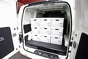 Photo shows the rear interior of a prototype of Nissan's e-NV200 electric vehicle during a test run at the automaker's Oppama test circuit in Yokohama, Japan on 17 Oct. 2012.  Photographer: Robert Gilhooly
