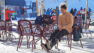 Chloe Kim suits up outside Camp Hale Coffee at the base of Copper Mountain in Copper Mountain, CO. ©Brett Wilhelm/ESPN
