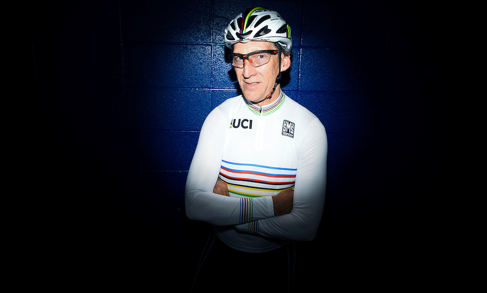 World Cycling Champion David Prechtl poses for a photo during practice at the VELO Sports Velodrome in Carson, California on Thursday.