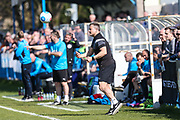 Forest Green Rovers manager, Mark Cooper during the Vanarama National League match between Guiseley  and Forest Green Rovers at Nethermoor Park, Guiseley, United Kingdom on 8 April 2017. Photo by Shane Healey.