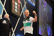 WINNER Sweden's Daniel Larsson beats Scotland's Robert Thornton and celebrates during Day 6 of the Darts World Championship 2018 at Alexandra Palace, London, United Kingdom on 18 December 2018.