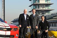 Chevrolet Indy Car engine announcement, Indianapolis Motor Speedway, Roger Penske, Randy Bernard, Helio Castroneves,