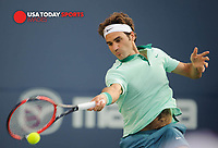 Aug 4, 2014; Toronto, Ontario, Canada;  Roger Federer (SUI) -  The Rogers Cup at Rexall Centre. Mandatory Credit: Peter Llewellyn-USA TODAY Sports