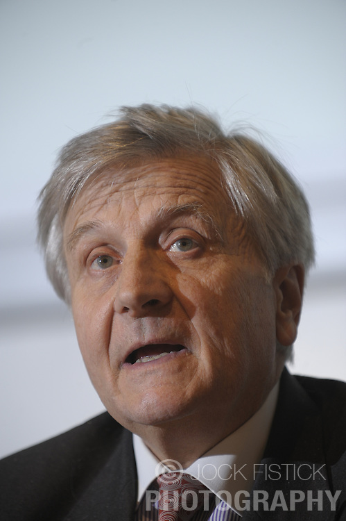 Jean-Claude Trichet, president of the European Central Bank, speaks during a news conference at the National Bank of Belgium, in Brussels, Thurdsday, Dec. 4, 2008.