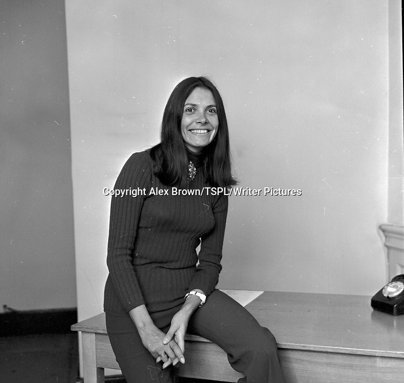 BBC TV presenter Joan Bakewell in Edinburgh in September 1970.<br /> <br /> copyright Alex Brown/TSPL/Writer Pictures<br /> contact +44 (0)20 822 41564<br /> info@writerpictures.com<br /> www.writerpictures.com