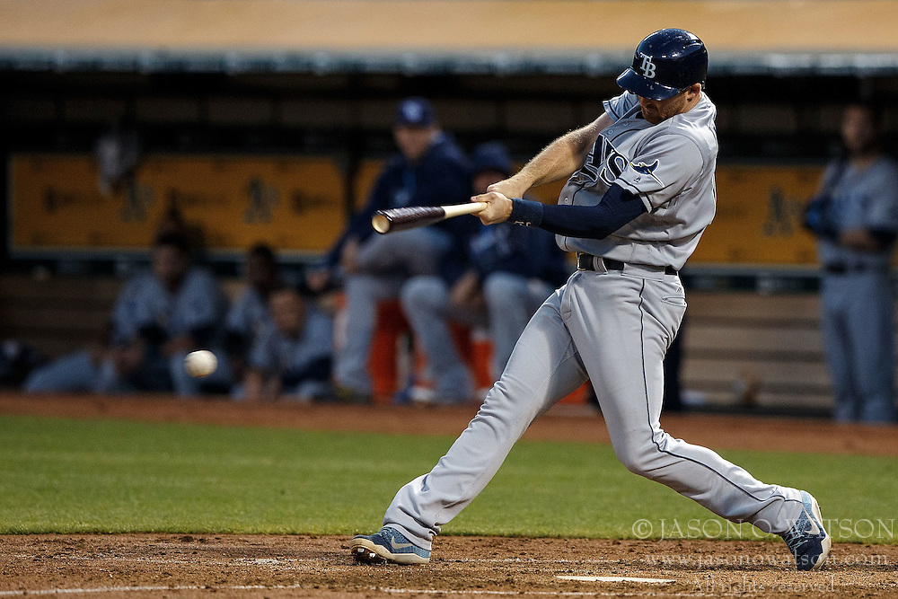 OAKLAND, CA - JULY 21:  Brad Miller #13 of the Tampa Bay Rays hits an RBI single against the Oakland Athletics during the fifth inning at the Oakland Coliseum on July 21, 2016 in Oakland, California. (Photo by Jason O. Watson/Getty Images) *** Local Caption *** Brad Miller