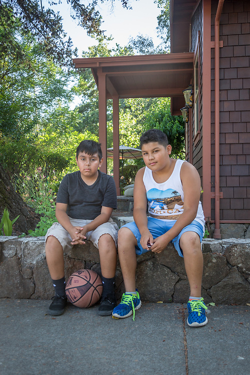 """We're going into the 7th grade but we're not freaked out...we've got friends there.""   -Twelve year old friends Ruben Gallarado and Oscar Maldonado rest at the corner of Third and Washington Streets after an afternoon of basketball in Calistoga."
