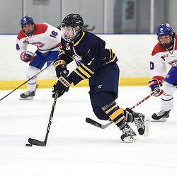 TORONTO, ON  - JAN 7,  2018: Ontario Junior Hockey League game between the Toronto Jr. Canadiens and the Buffalo Jr. Sabres, Nicholas Grupp #5 of the Buffalo Jr. Sabres skates up the ice during the first period.<br /> (Photo by Andy Corneau / OJHL Images)
