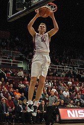 Stanford forward Michael Humphrey (10) scores against Colorado during the first half of an NCAA college basketball game in Stanford, Calif., Sunday, Jan. 3, 2016. Colorado won 56-55. (AP Photo/Jason O. Watson)