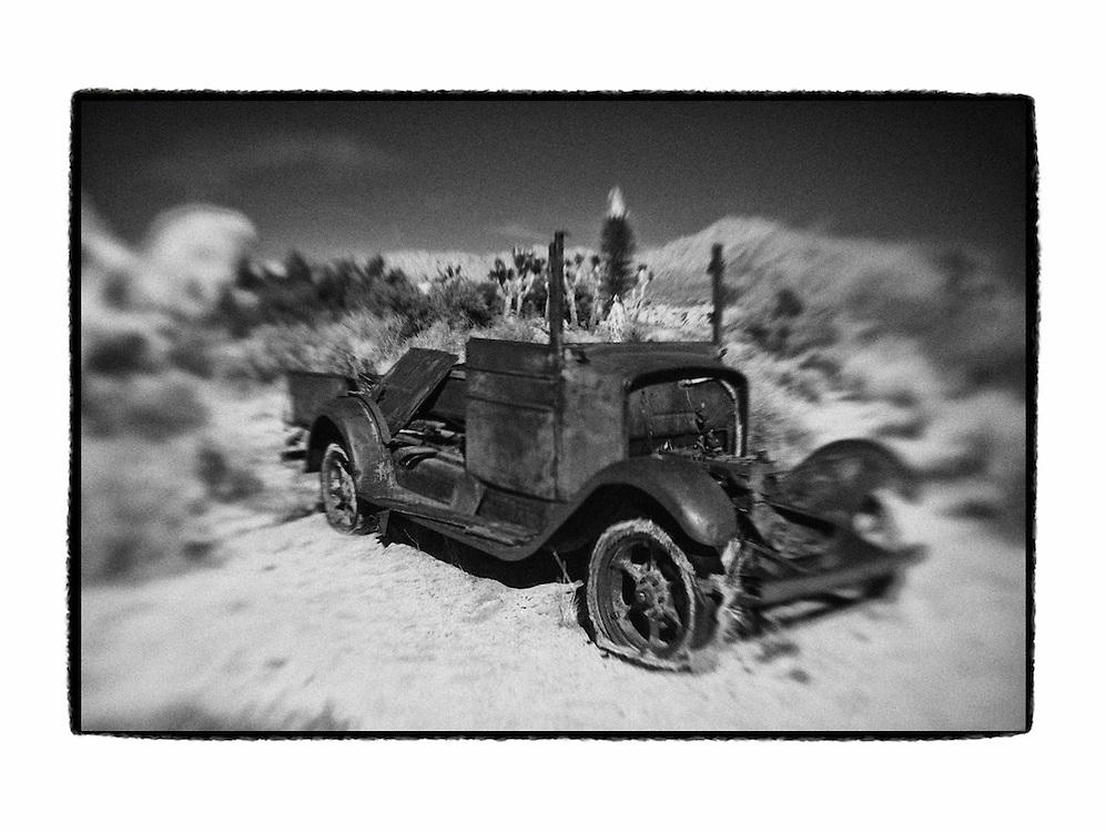 Abandoned Car - Joshua Tree National Park -Lensbaby - Custom Border - Black & White