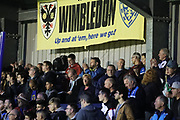 AFC Wimbledon fans during the EFL Sky Bet League 1 match between AFC Wimbledon and Gillingham at the Cherry Red Records Stadium, Kingston, England on 12 September 2017. Photo by Matthew Redman.