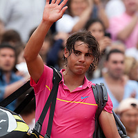 31 May 2009: Rafael Nadal walks off court during the men's Singles fourth round match on day eight of the French Open at Roland Garros in Paris, France.