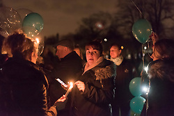 © Licensed to London News Pictures. 02/02/2018. LONDON, UK.  Family, friends and wellwishers gather to release dozens of lit balloons into the night sky at Harefield Green in north west London in memory of teenagers Harry Louis Rice, 17, George Toby Wilkinson, 16 and Josh McGuinness, 16.  The tribute marks seven days since the teenagers lost their lives in the Hayes car crash and the release of the balloons, timed for 8.40pm, marks the time of the crash.   Photo credit: Stephen Chung/LNP