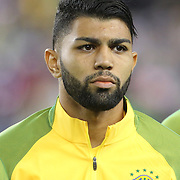 FOXBOROUGH, MASSACHUSETTS - JUNE 12:   Gabriel #11 of Brazil during team presentations before the Brazil Vs Peru Group B match of the Copa America Centenario USA 2016 Tournament at Gillette Stadium on June 12, 2016 in Foxborough, Massachusetts. (Photo by Tim Clayton/Corbis via Getty Images)