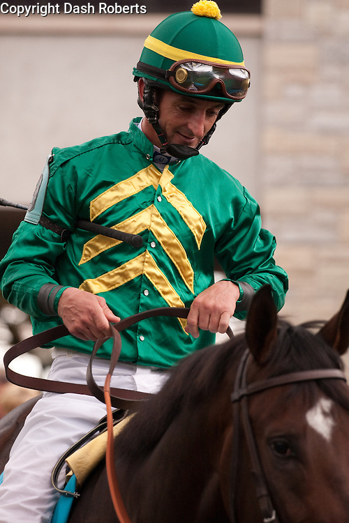 Jockey Robby Albarado atop his mount in the paddock at Keeneland during the 2009 Fall Meet