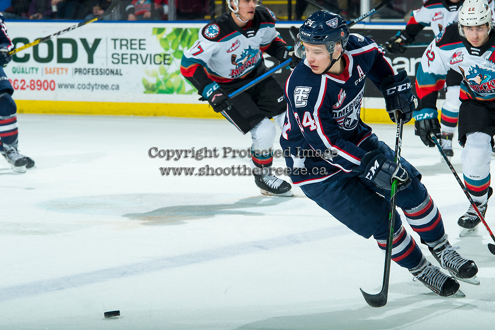 KELOWNA, BC - FEBRUARY 12: Sasha Mutala #34 of the Tri-City Americans skates for the puck against the Kelowna Rockets at Prospera Place on February 8, 2020 in Kelowna, Canada. Mutala was selected in the 2019 NHL entry draft by the Colorado Avalanche. (Photo by Marissa Baecker/Shoot the Breeze)